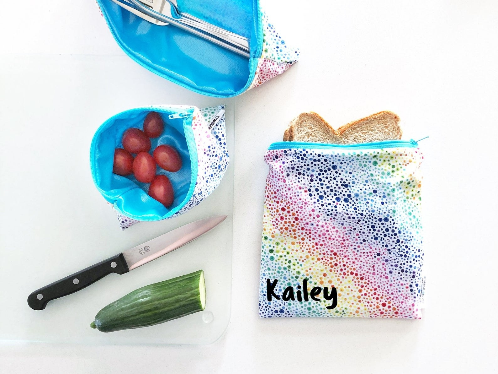 A personalized sandwich bag, snack bag and cutlery bag
