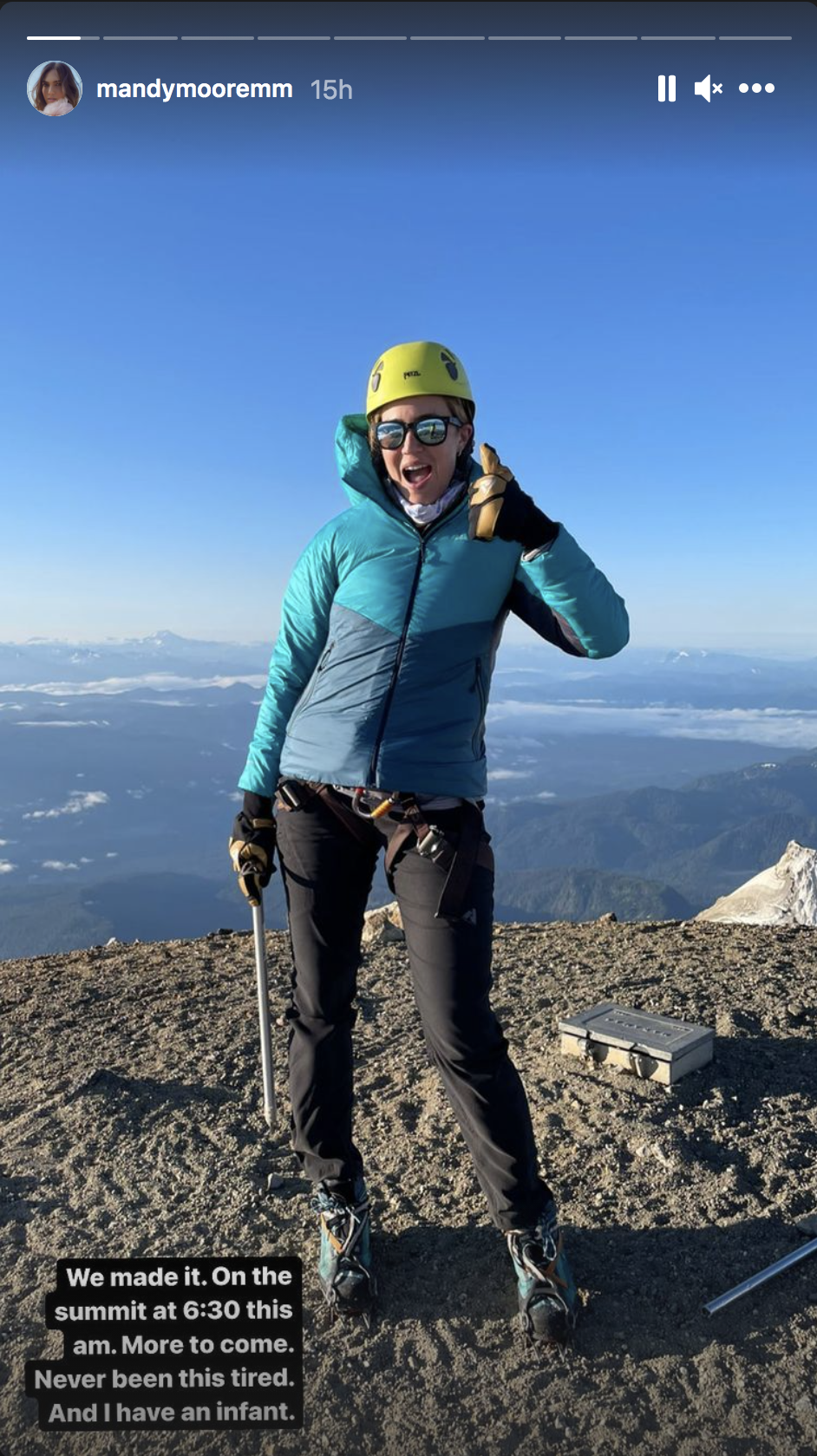 Mandy Moore gives a thumbs up from the summit of Mount Baker