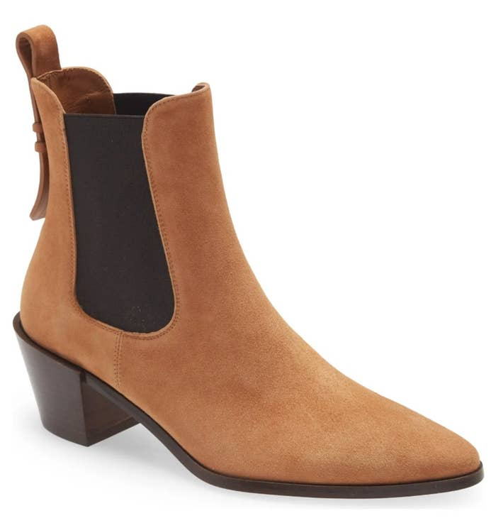 A brown suede chelsea boot