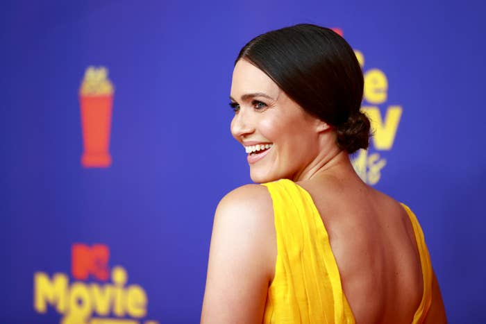 Mandy Moore is pictured smiling at the 2021 MTV Movie & TV Awards