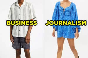 """On the left, someone wearing a short sleeve button-down shirt and shorts labeled """"business,"""" and on the right, someone wearing a mini dress with long sleeves labeled """"journalism"""""""