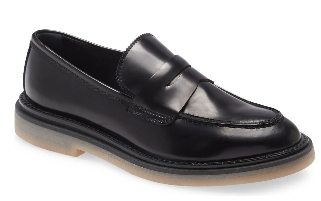 A classic black loafer
