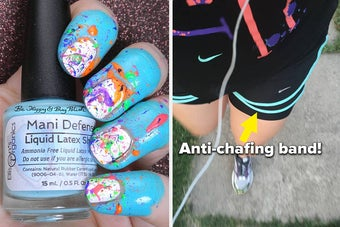 on left, liquid latex barrier around paint-splattered manicure. on right, reviewer wears black anti-chafing band while running