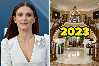 On the left, Millie Bobby Brown, and on the right, a luxury home with a double staircase a chandelier hanging above it labeled