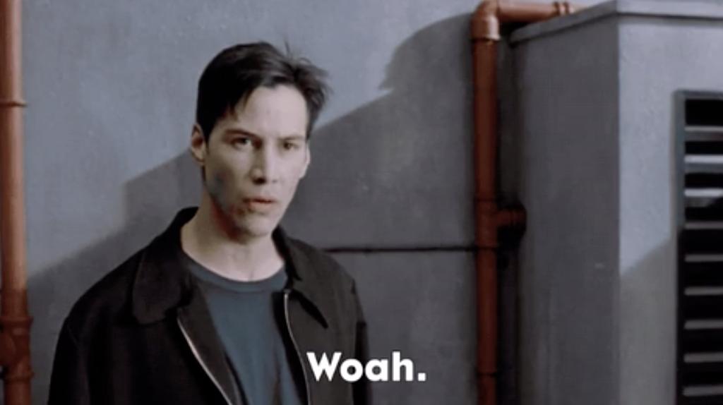 "Keanu Reeves in ""The Matrix"""