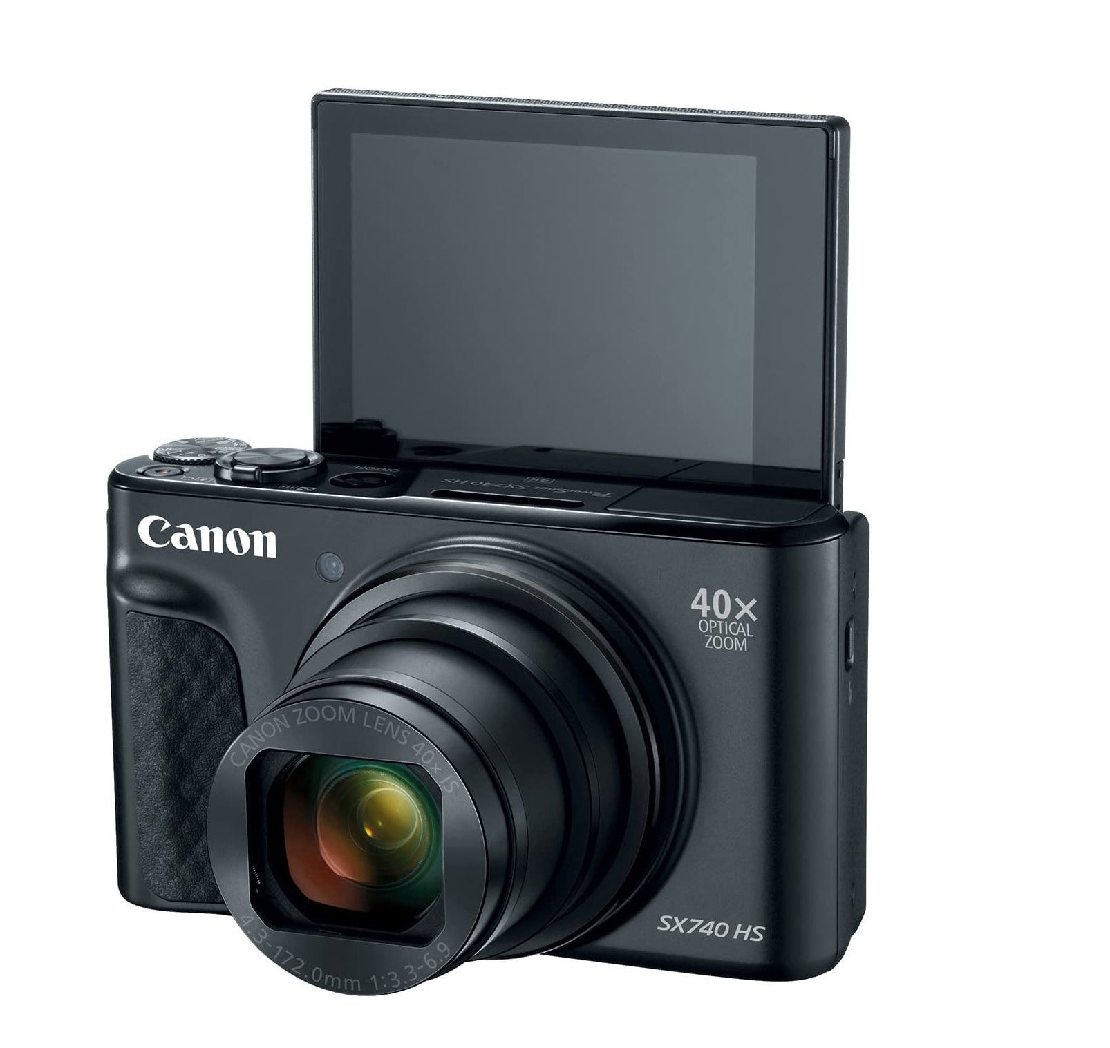 A camera with the display flipped up