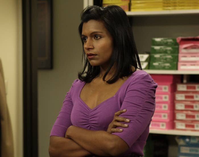 Mindy's Office character looks upset with her arms crossed