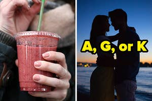"""On the left, someone sipping a berry smoothie out of a plastic cup, and on the right, a couple embracing on the beach at sunset labeled """"A, G, or K"""""""