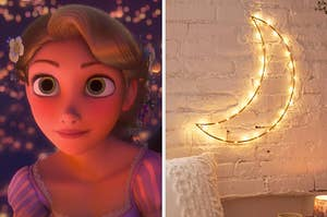 """On the left, Rapunzel from """"Tangled,"""" and on the right, a moon with lights on it on an exposed brick wall"""