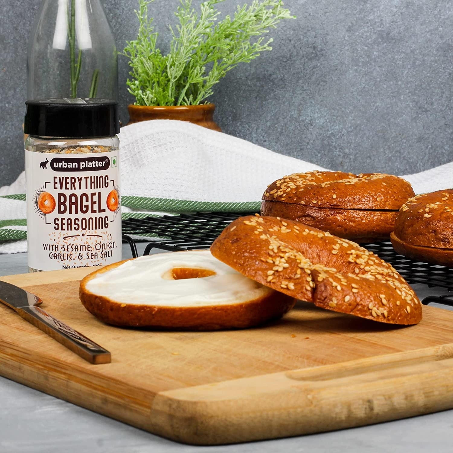 The jar of the seasoning pictured with bagels