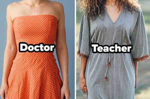 """Orange polka dot dress with word """"doctor"""" and grey dress with word """"teacher"""""""