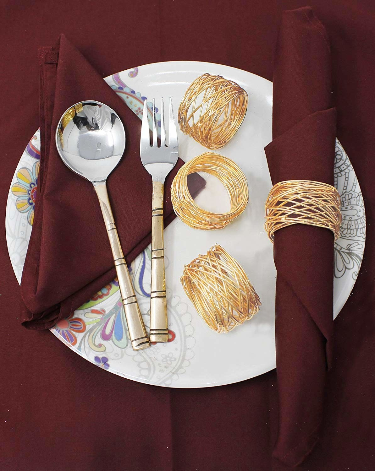 Coiled gold wire napkin rings