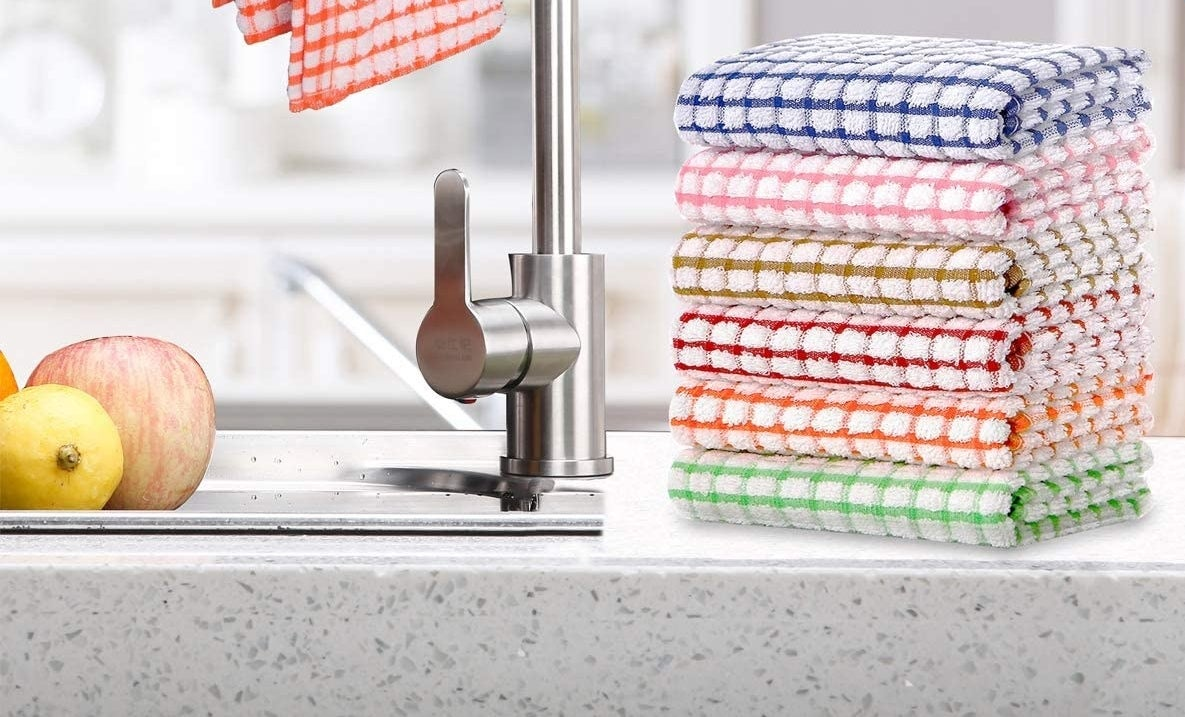 the colorful dish towels