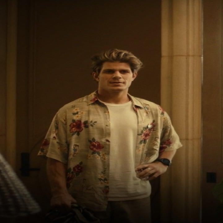 Alec Merlino in a Hawaiian shirt talks to Murray Bartlett