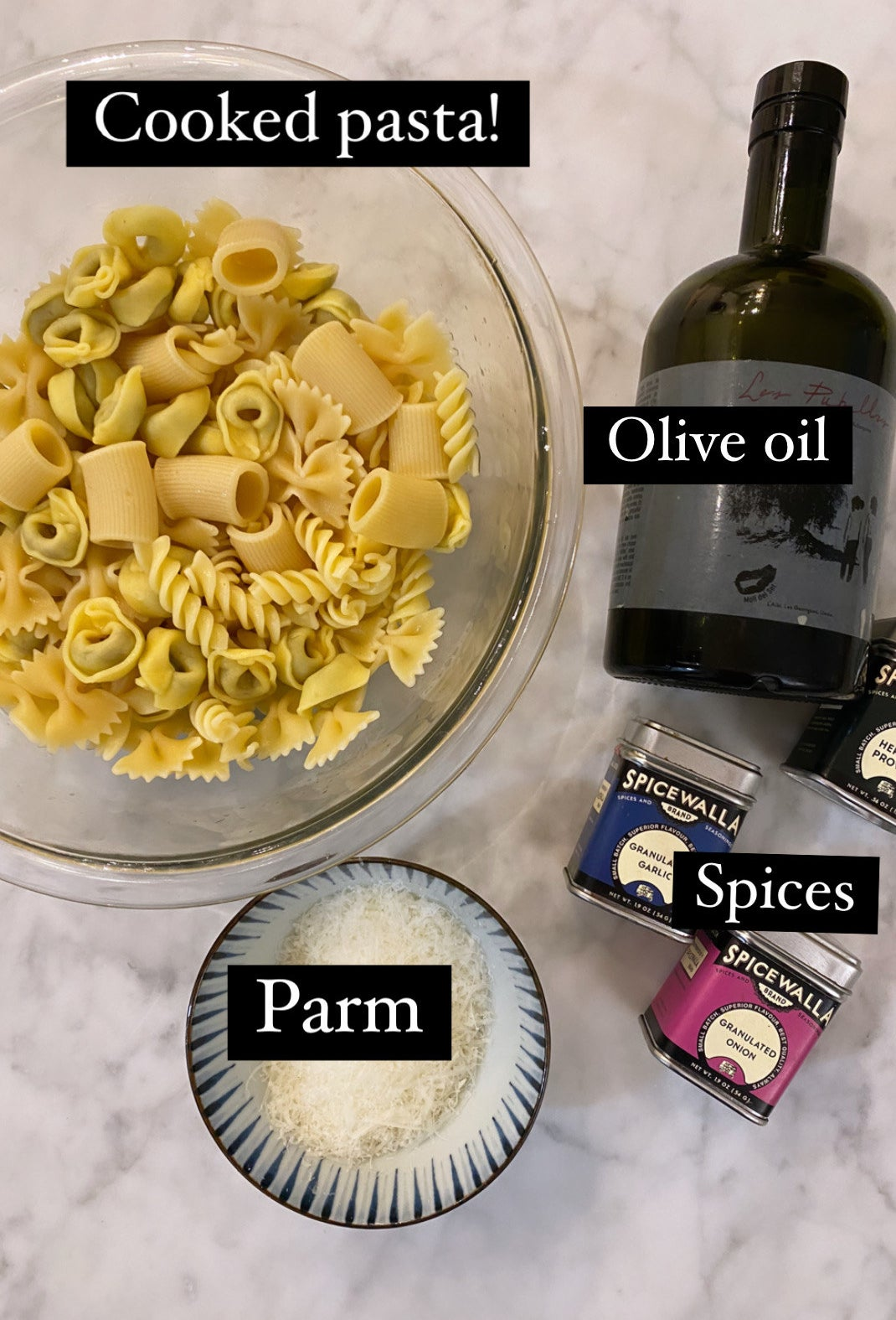 Ingredients for pasta chips.