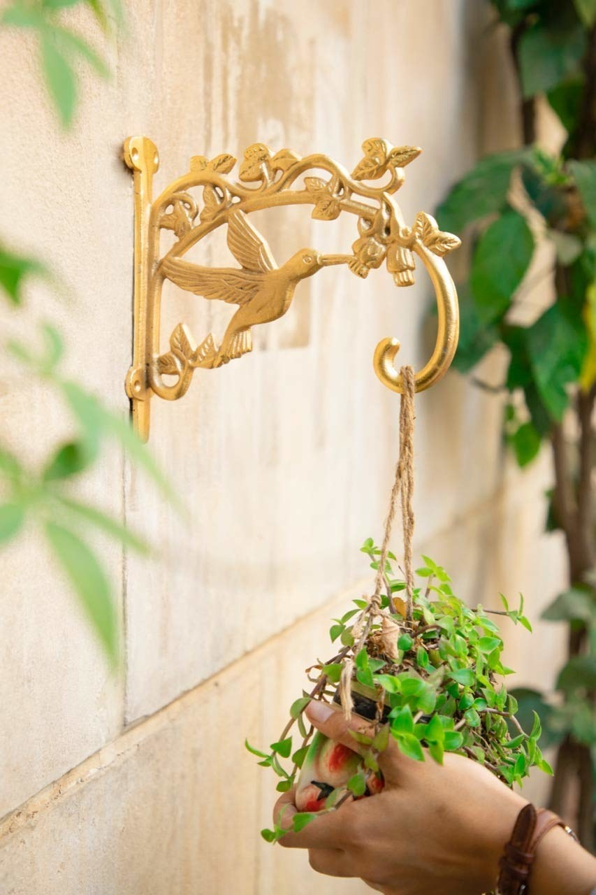 A woman hanging a potted plant on a golden wall bracket with a bird design