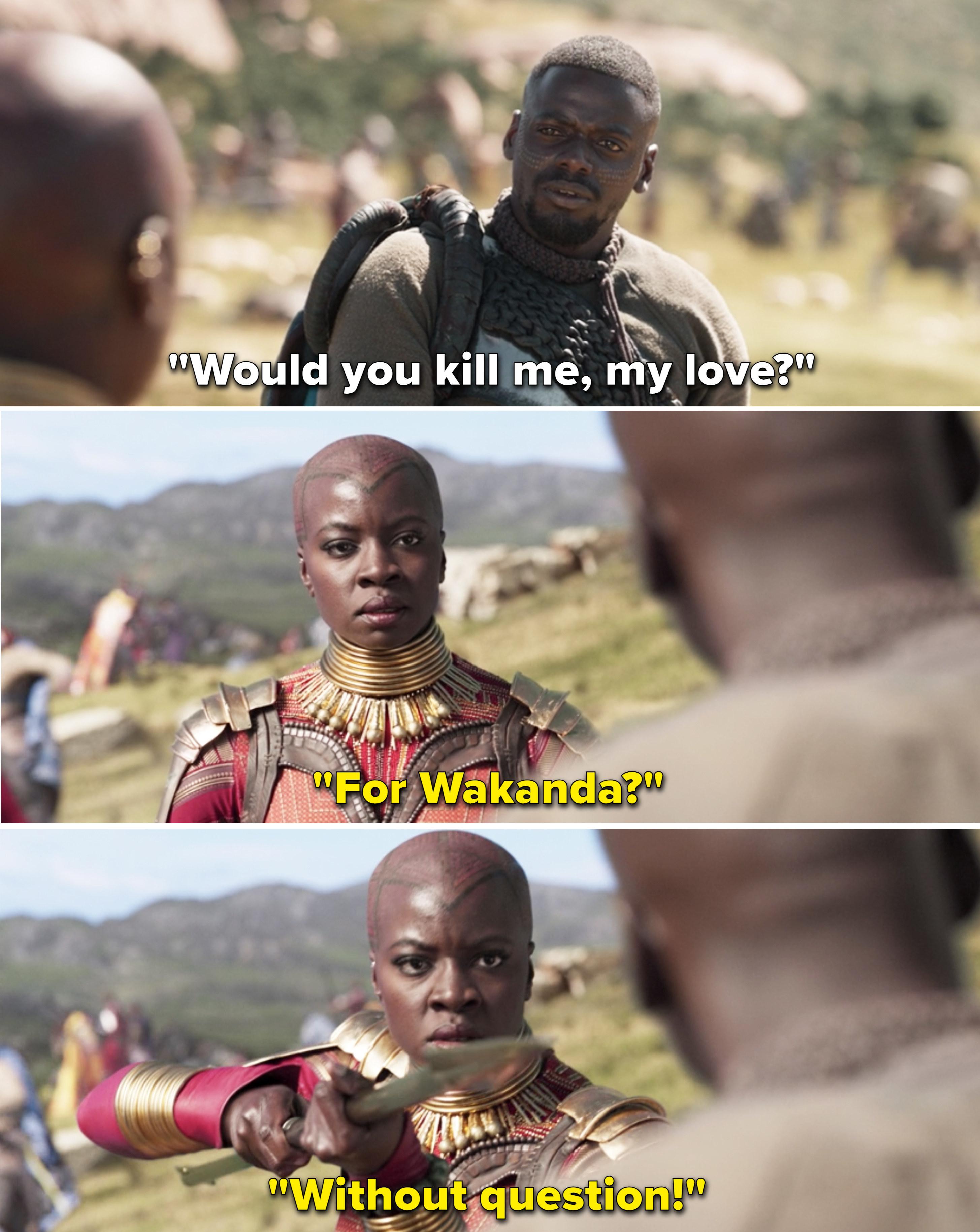 "Okoye telling W'Kabi, ""For Wakanda? Without question"""