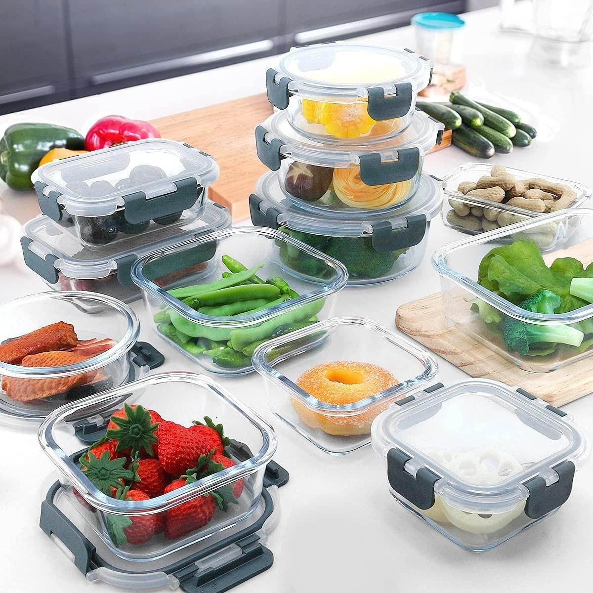 the 24 piece glass food storage set in gray