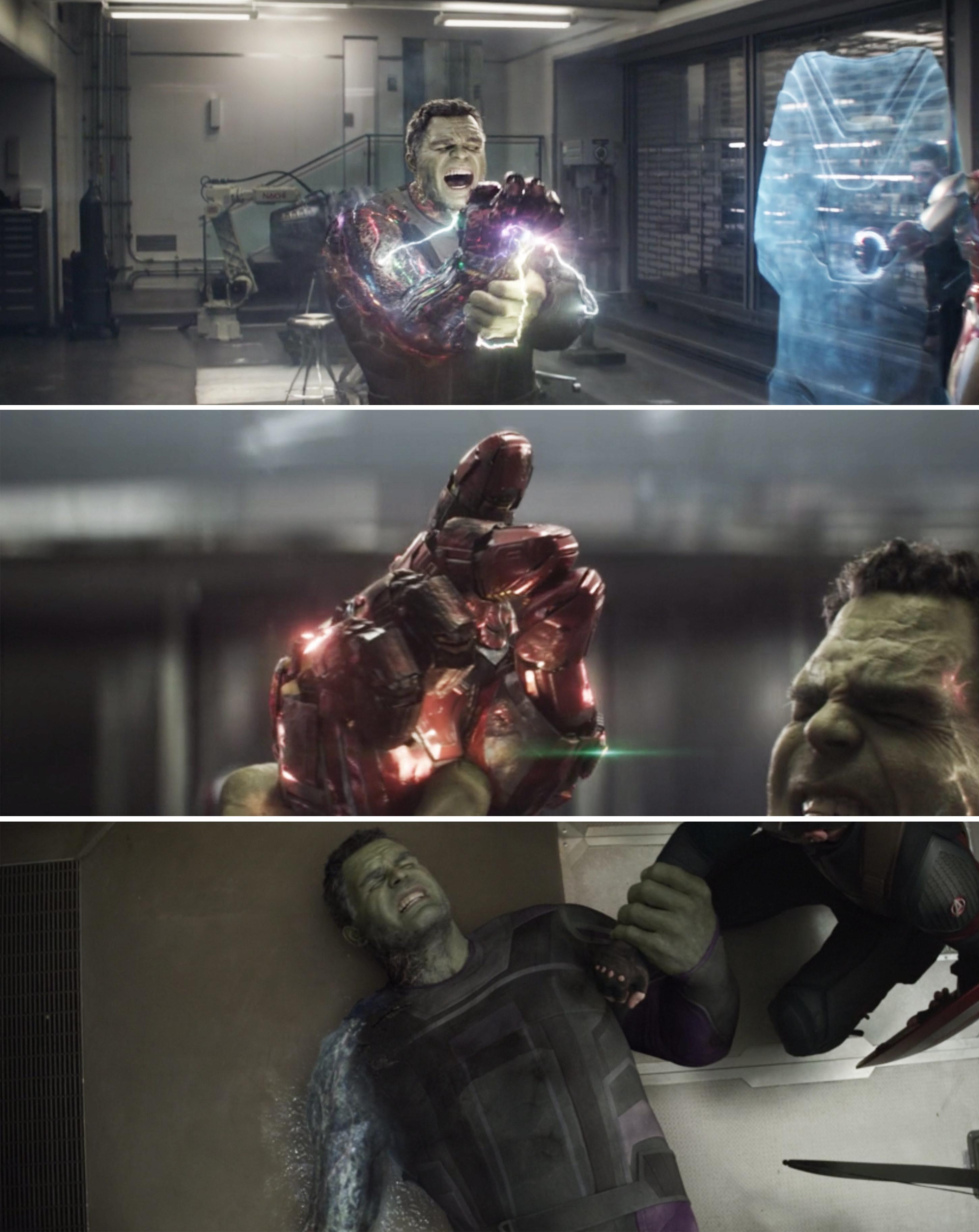 Hulk wielding the Infinity Gauntlet