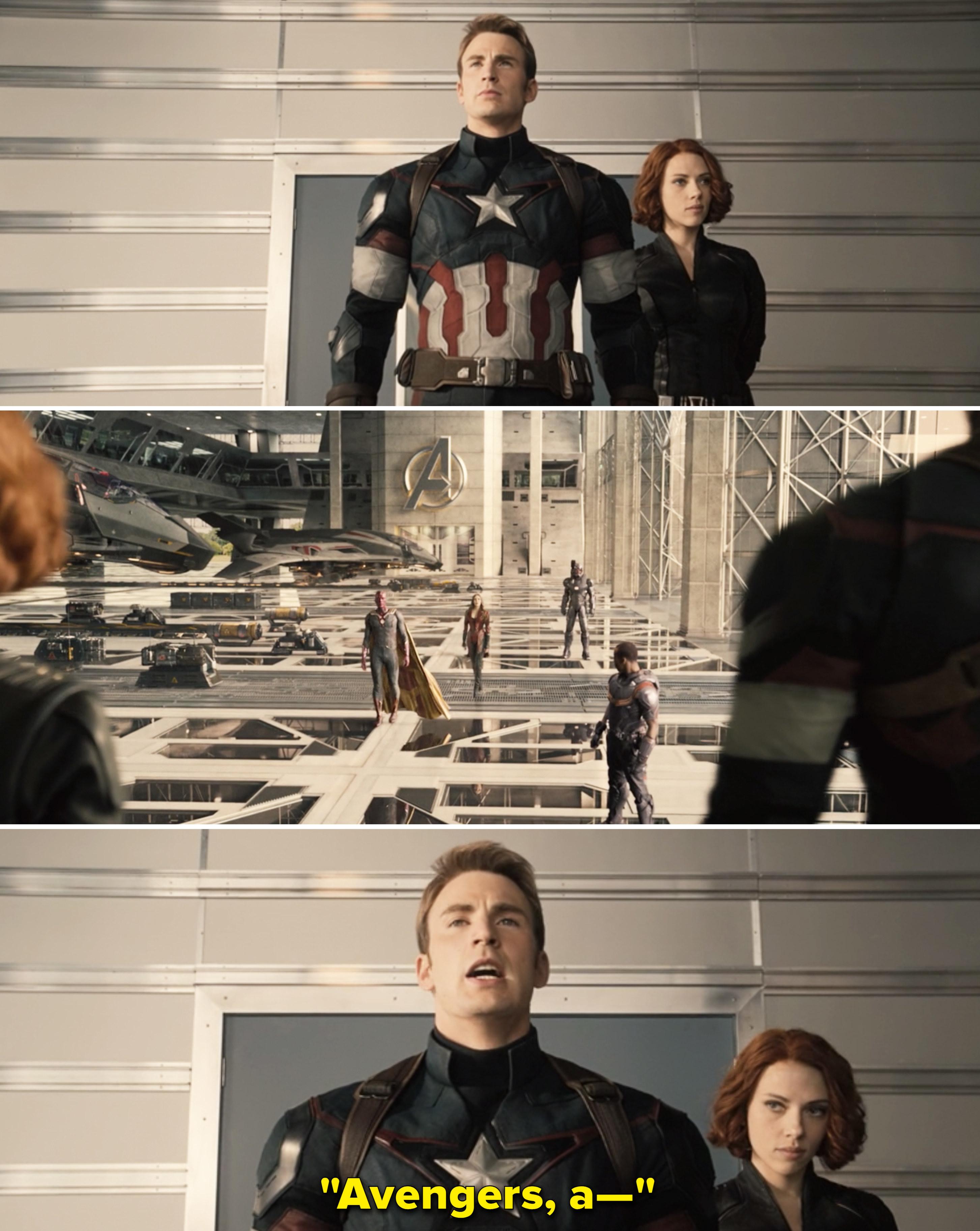 Steve and Natasha looking at Wanda, Vision, Rhodey, and Sam