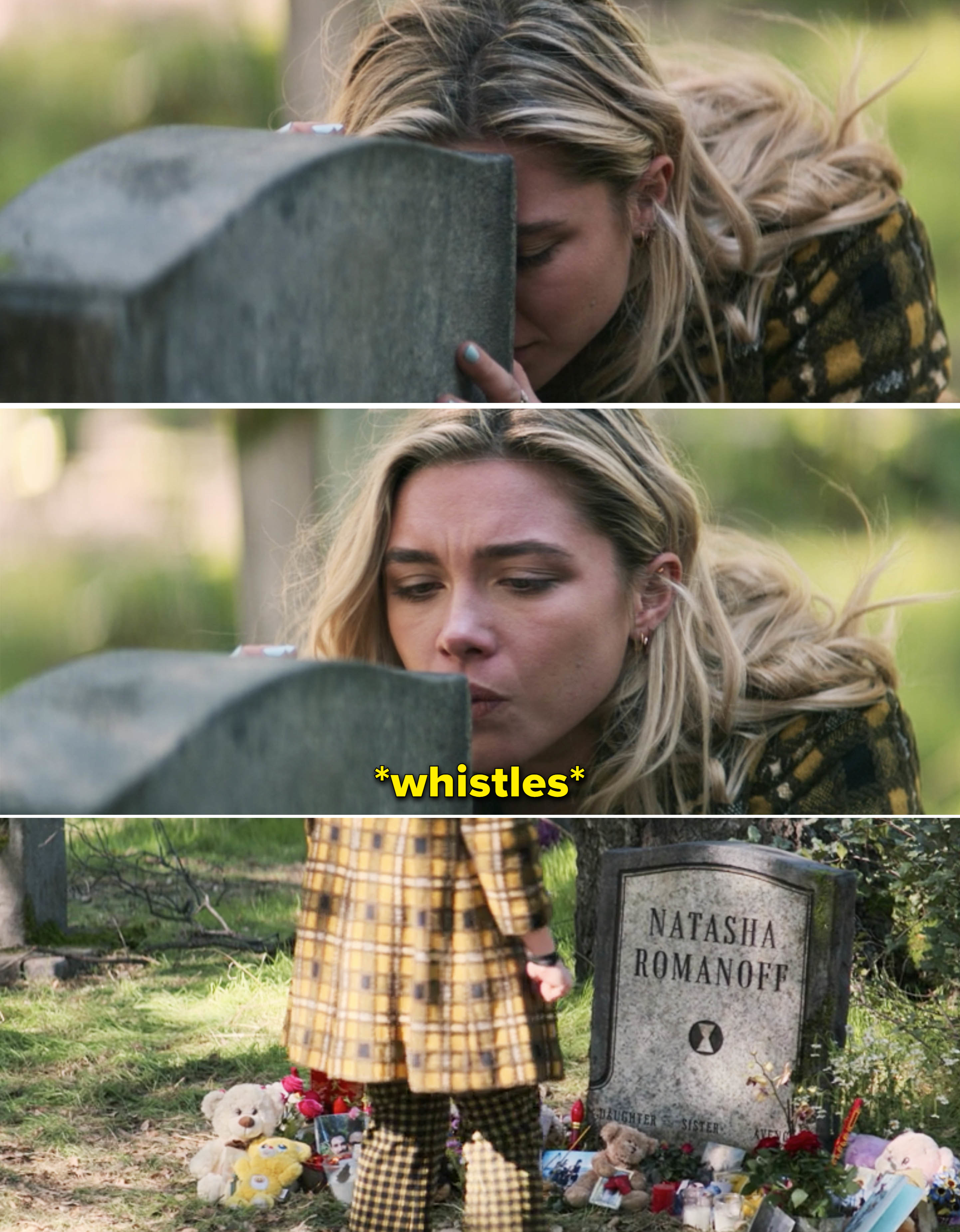 Yelena whistling at Natasha's grave