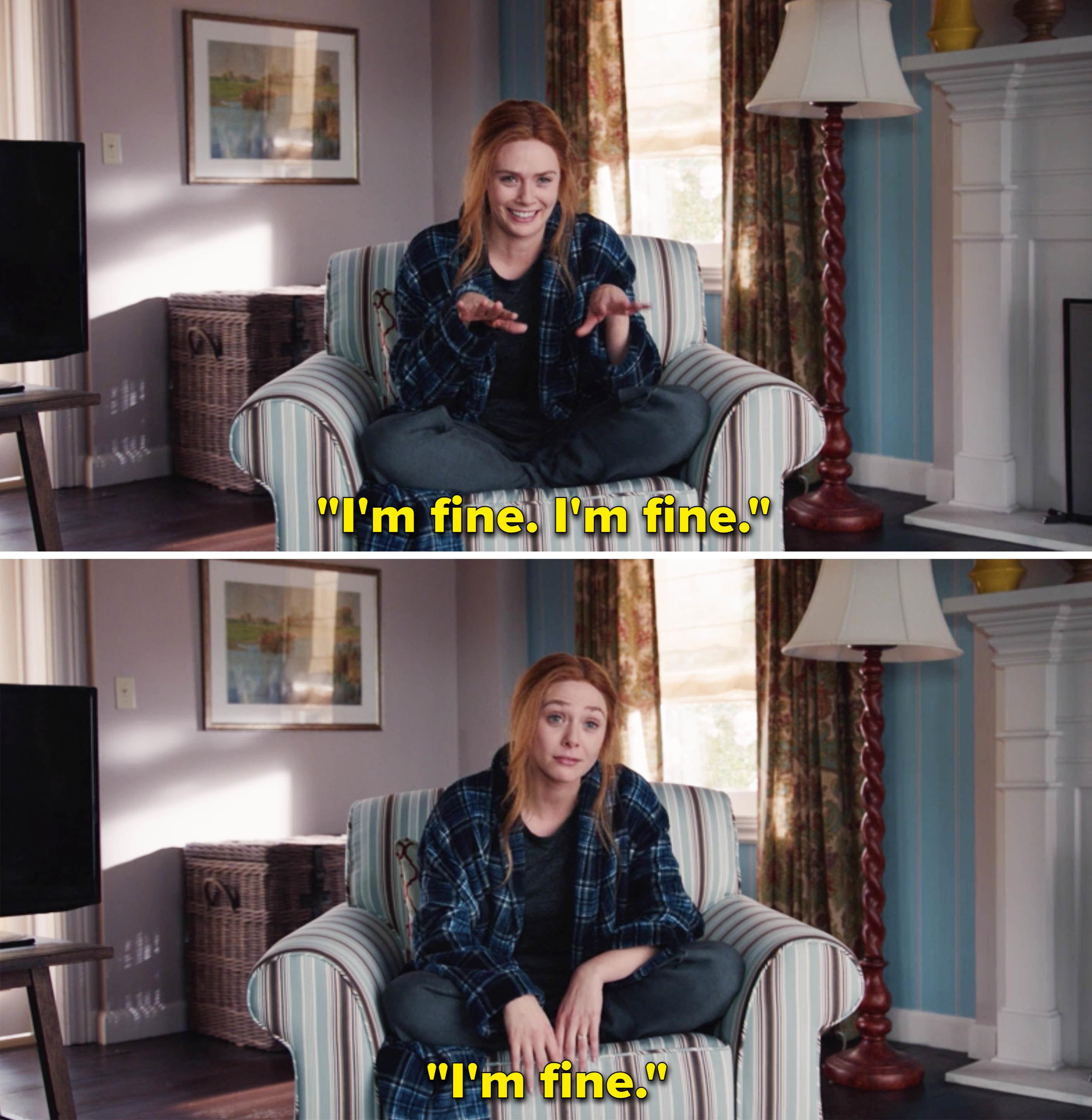 "Wanda repeating, ""I'm fine"""