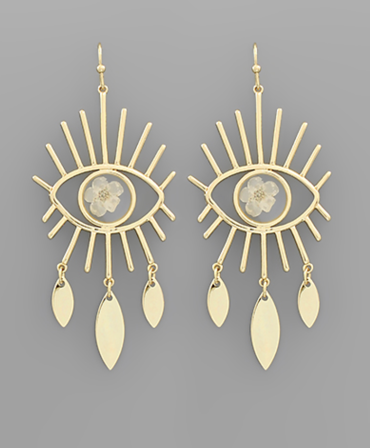 a pair of the Yasmine floral evil eye earrings