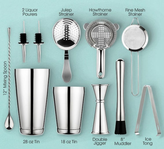 An image of all 11 pieces in the cocktail set