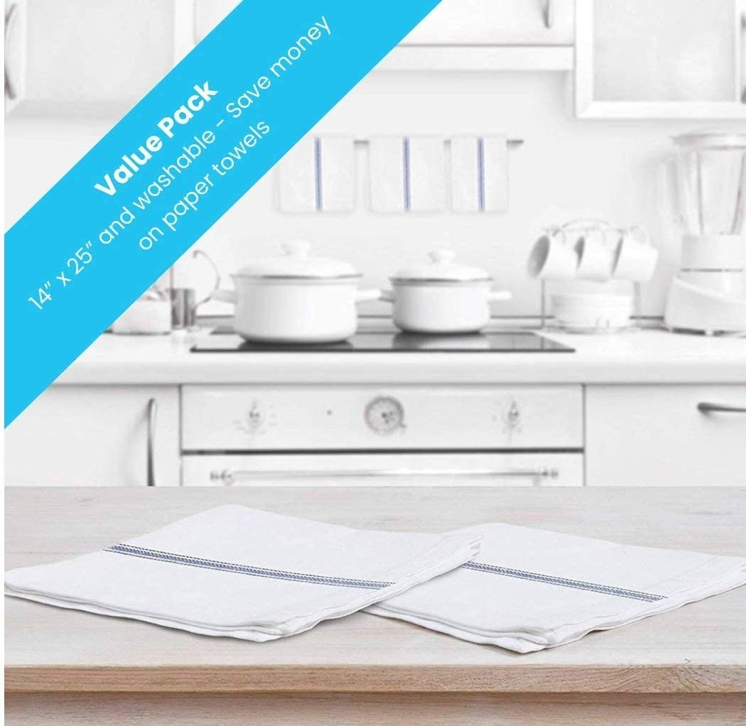 the white and blue kitchen towels