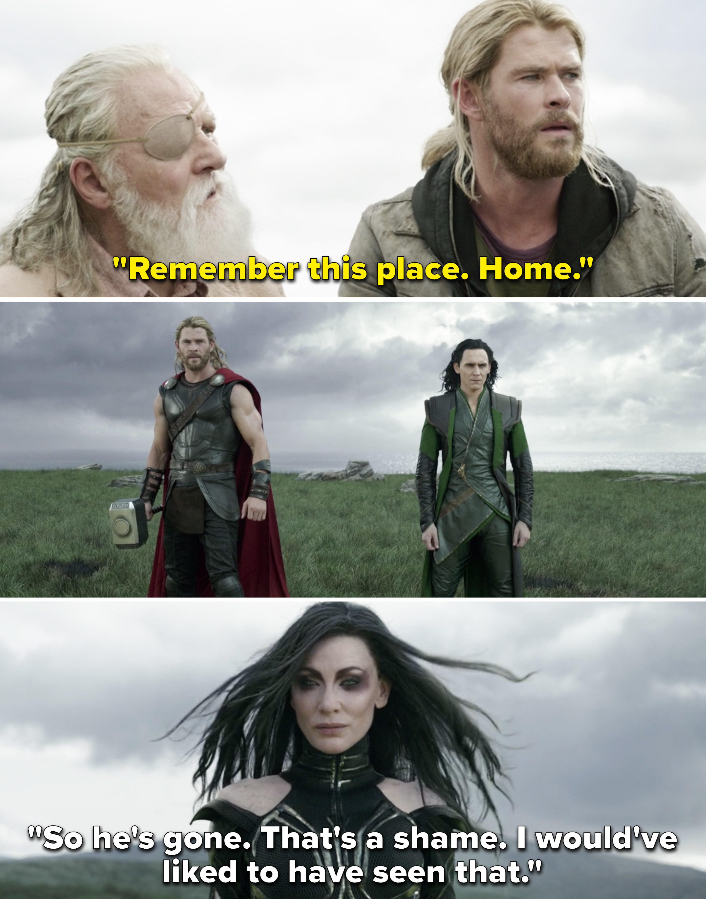 """Odin saying, """"Remember this place. Home"""" and Hela saying, """"So he's gone. That's a shame. I would've liked to have seen that"""""""