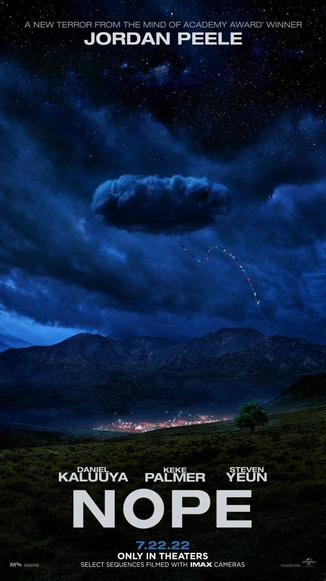 A movie poster with a small town in the distance and a giant cloud over it, with a kite string hanging out of the cloud