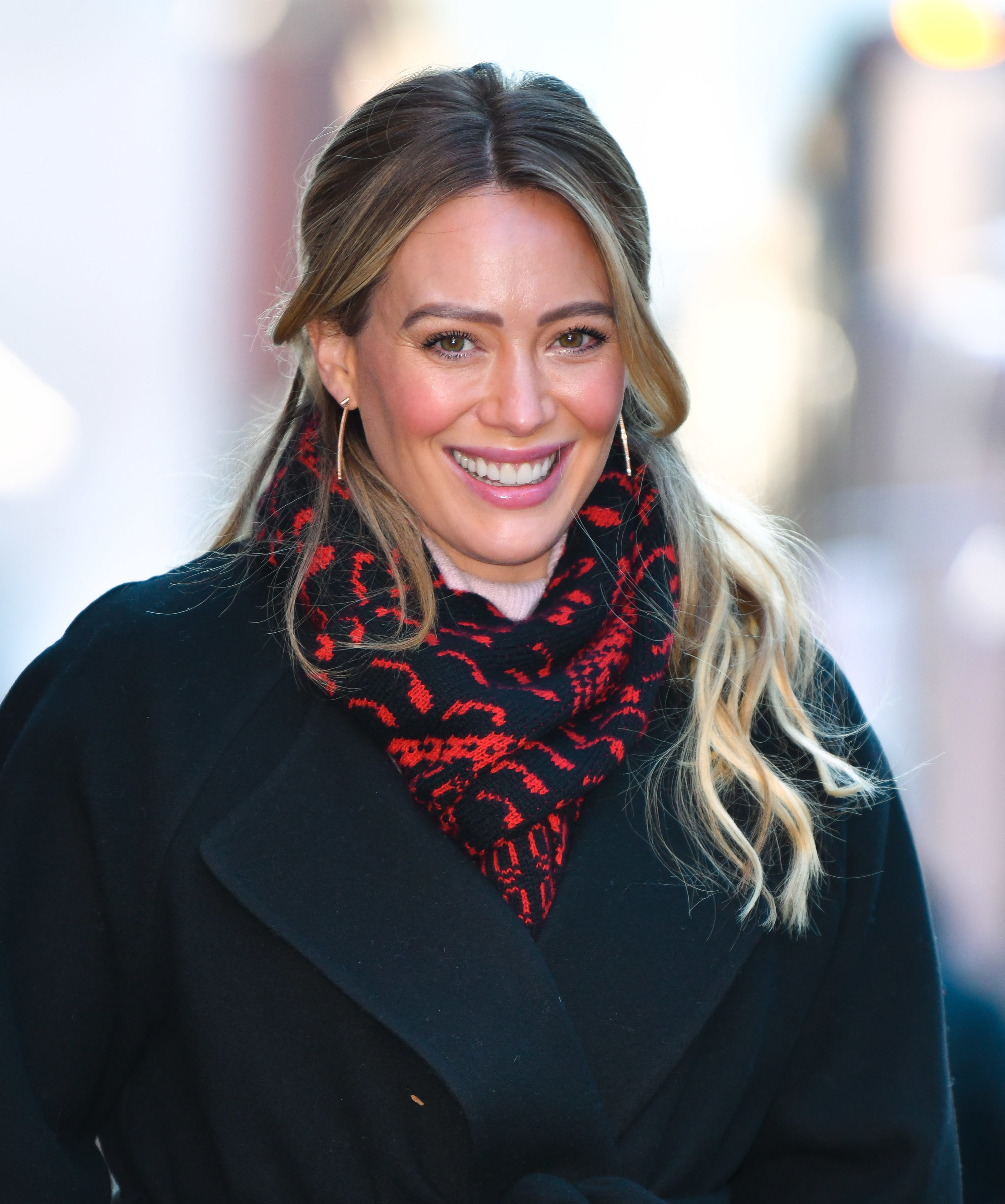 Hilary Duff is pictured on the set of Younger