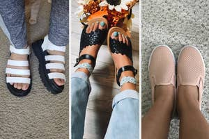L: a reviewer wearing a pair of platform white sandals, M: a model wearing a braided pair of black leather sandals, R: a reviewer wearing a pair of light pink slip on sneakers