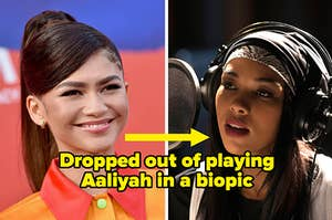 """Zendaya labeled """"Dropped out of playing Aaliyah in a biopic"""" with a picture of Alexandra Shipp in the biopic"""