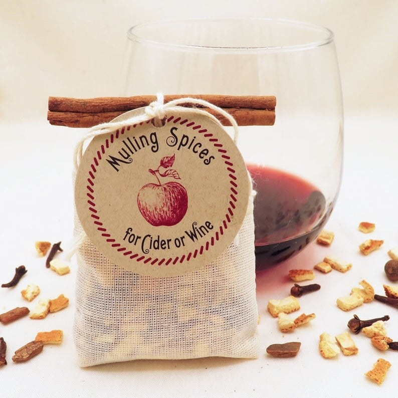 A sachet full of spices for mulling wine or cider