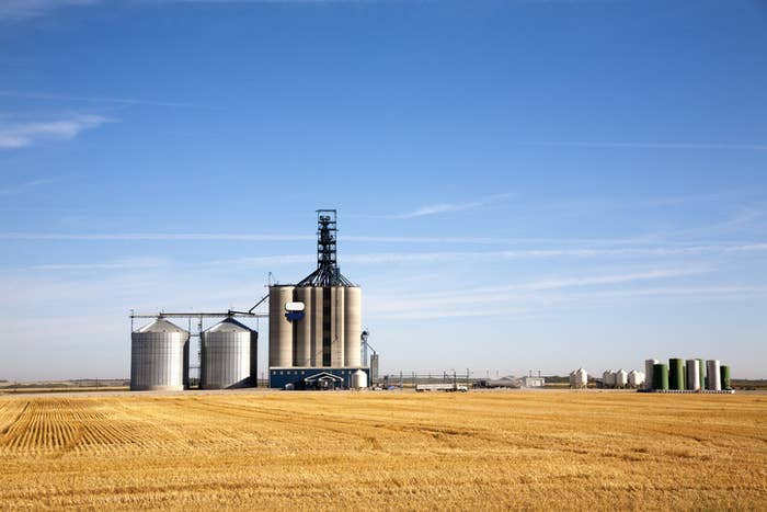 A photo of a wheat tower on the prairies