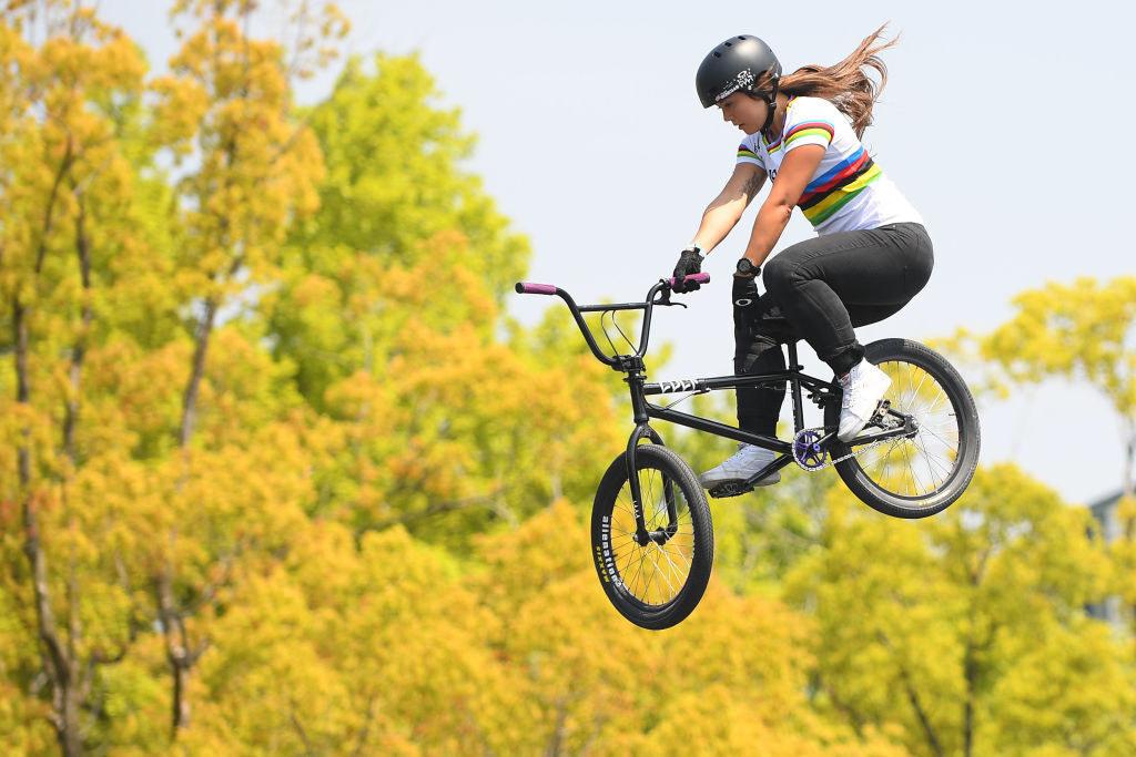 Perris airborne on her bike