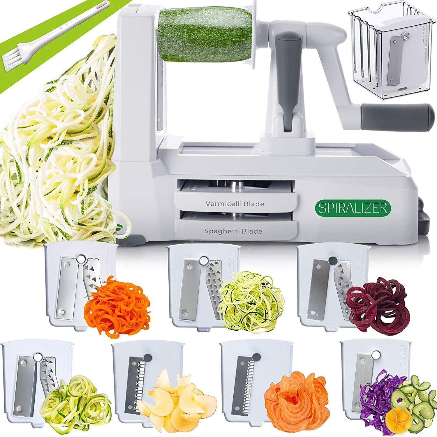 The spiralizer with 7-blade slicers is capable of cutting a variety of vegetables