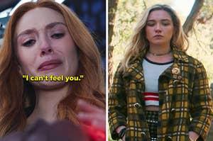 "Wanda saying, ""I can't feel you"" and Yelena from Black Widow"