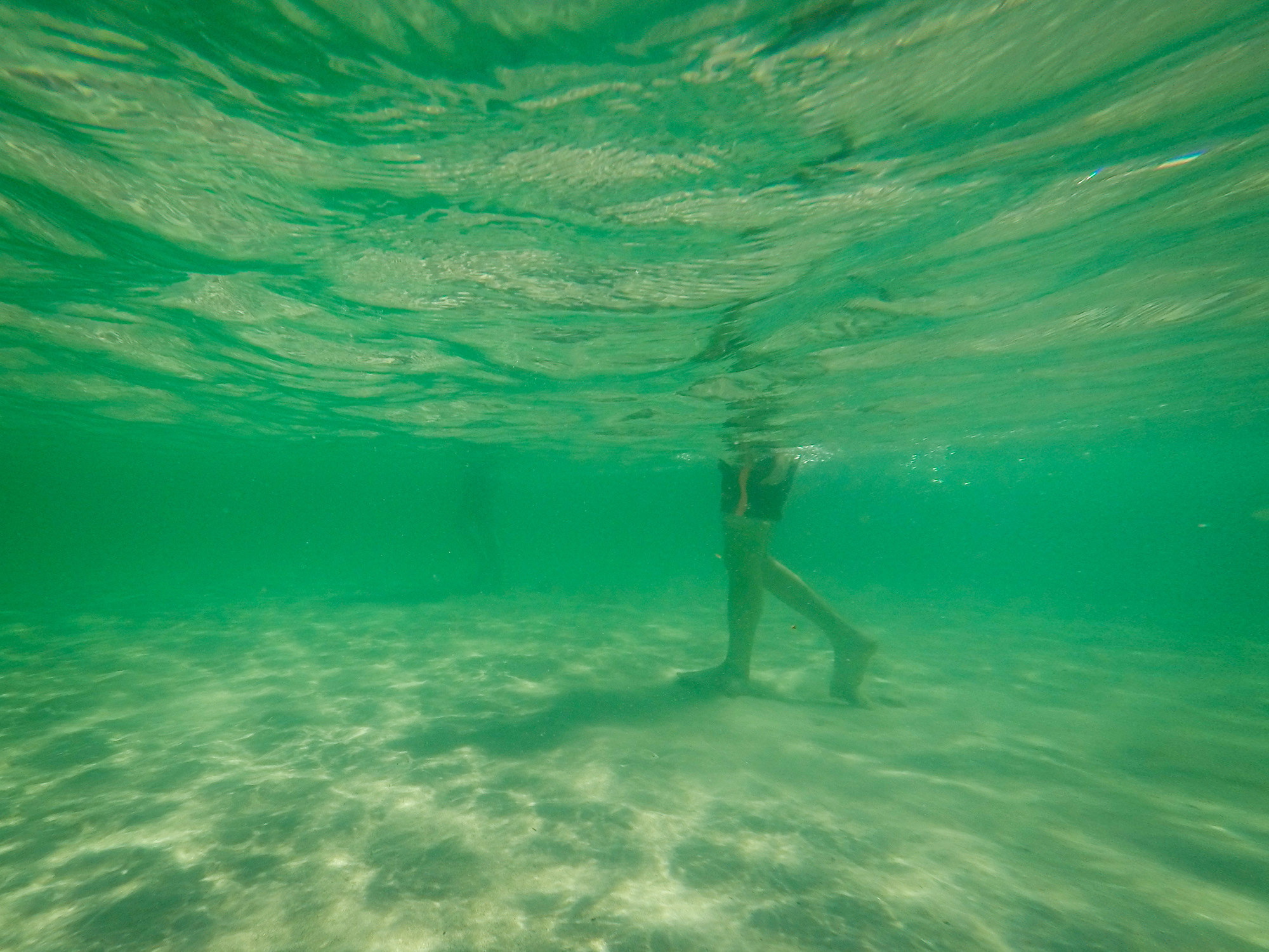 A pair of legs walks on sand in green water in an underwater photograph