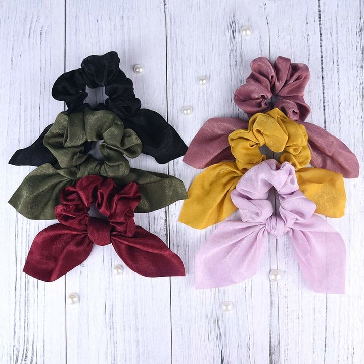 all six hair scrunchies in different colors