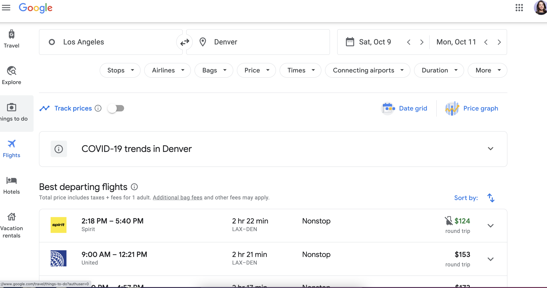Booking flights in advance via Google Flights