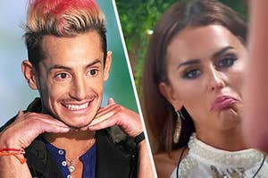 A contestant on Big brother and a contestant on love island making funny faces