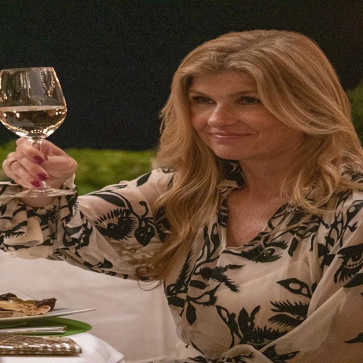Connie Britton raises a glass of wine