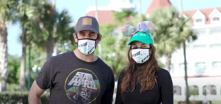 Aaron Rodgers and Shailene Woodley at Disney World wearing Star Wars masks