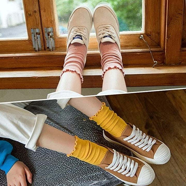 the socks paired with sneakers in yellow and pink