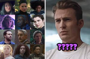 a bunch of characters from the recent Marvel projects with a reaction image of Steve looking confused with ???? as a caption