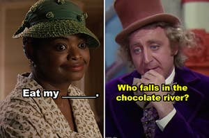 """A side-by-side of Minny from """"The Help"""" and Willy Wonka"""