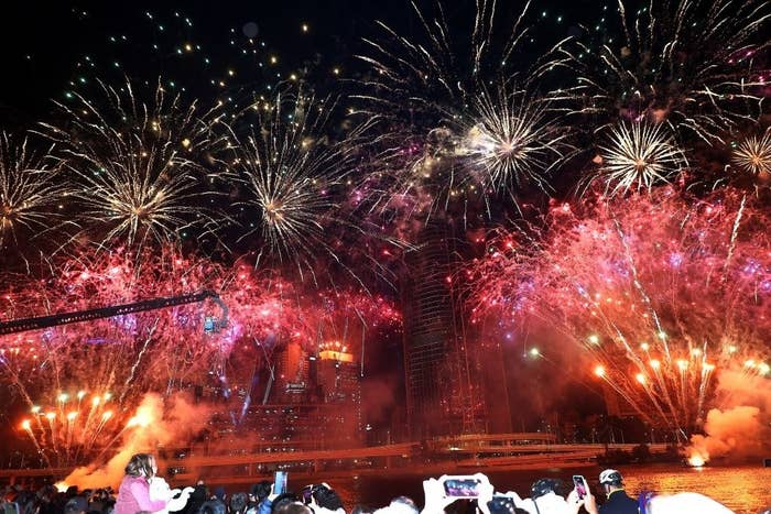 Fireworks fill the sky after Brisbane was named host of the 2032 Olympics