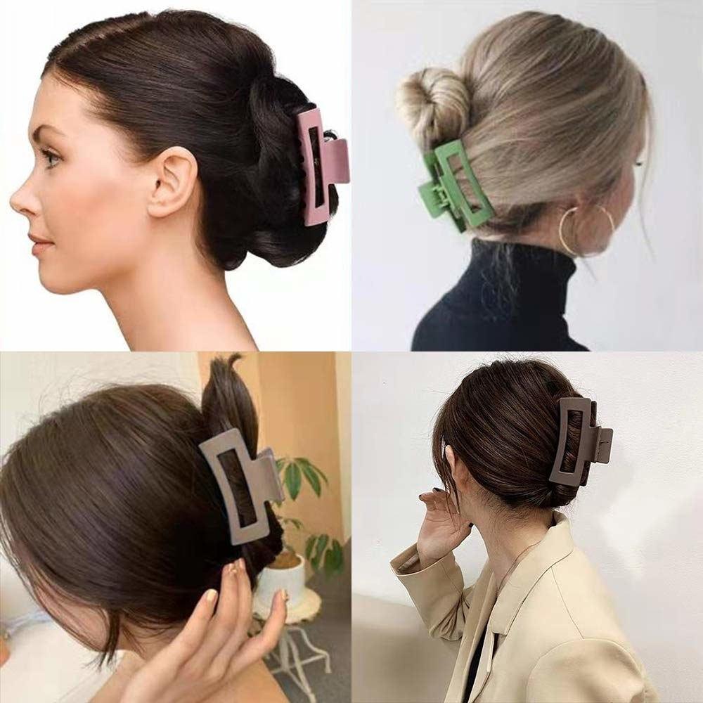 A chart of models showing off their buns in the different colored clips